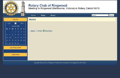 Sample screenshot of the proposed Rotary Club of Ringwood website